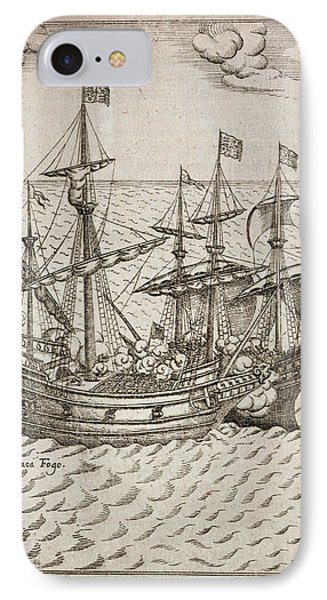 Capture Of The The Spanish Galleon IPhone Case by British Library