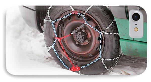 Car With Snow Chains IPhone Case by Ashley Cooper