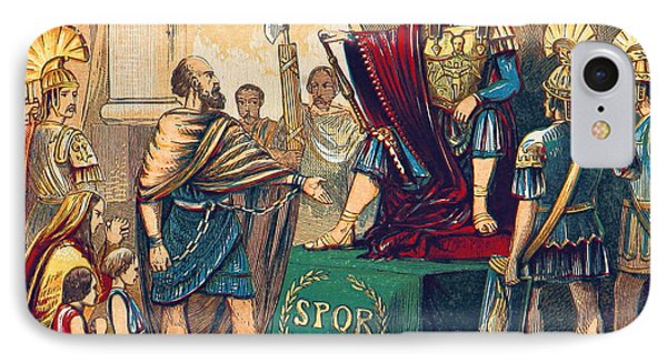 Caractacus Before Emperor Claudius, 1st IPhone Case by British Library