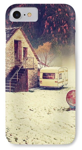 Caravan In The Snow With House And Wood IPhone Case