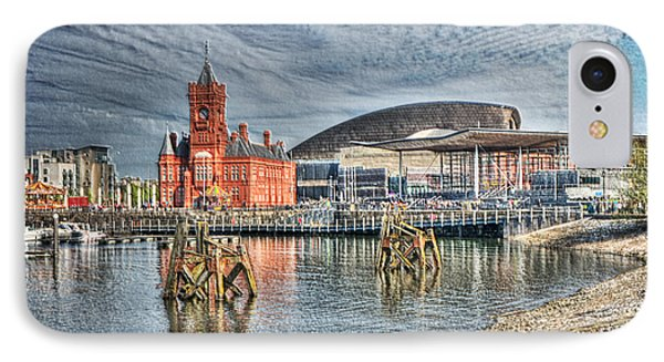 Cardiff Bay Textured IPhone Case by Steve Purnell