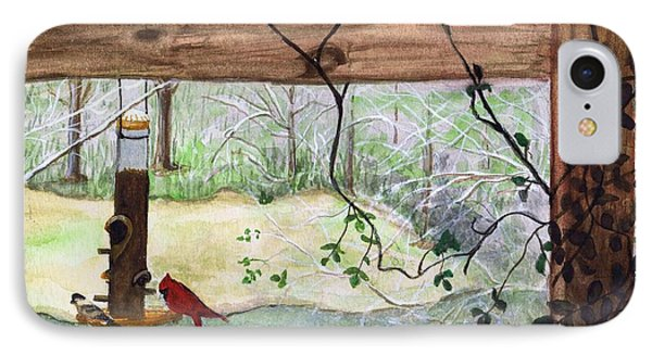 IPhone Case featuring the painting Cardinal-back Porch Picnic by June Holwell