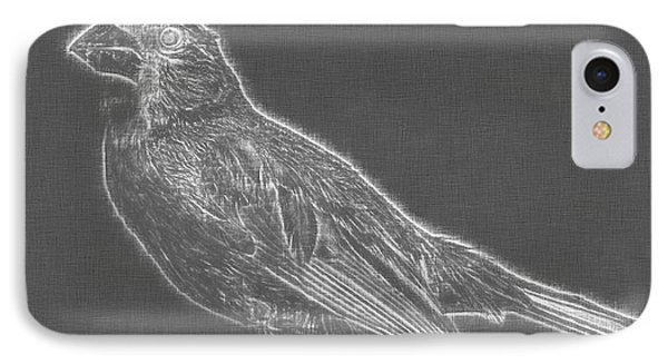 Cardinal Bird Glowing Charcoal Sketch IPhone Case by Celestial Images