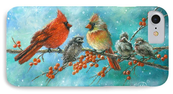 Cardinal Family Three Kids IPhone Case by Vickie Wade