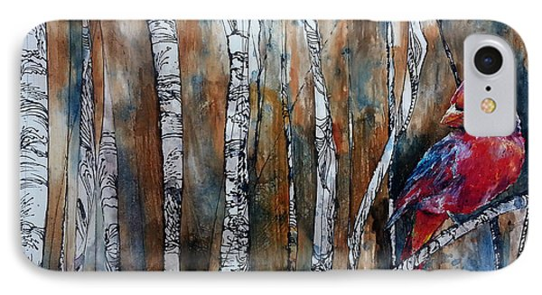 IPhone Case featuring the painting Cardinal In Birch Tree Forest by Christy  Freeman