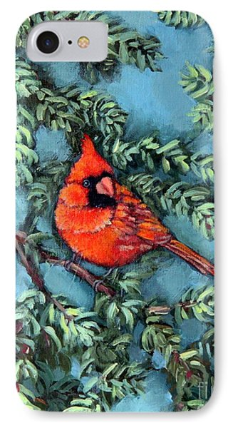 Cardinal In Spruce IPhone Case by Inese Poga