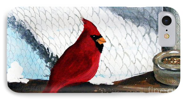 Cardinal In The Dogpound Phone Case by Barbara Griffin