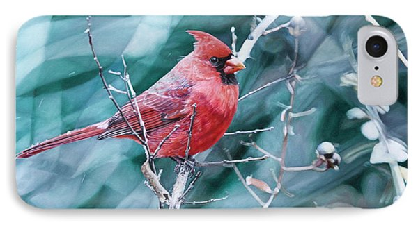 IPhone Case featuring the painting Cardinal In Winter by Joshua Martin