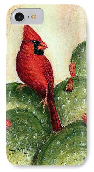 IPhone Case featuring the painting Cardinal On Prickly Pear Cactus by Judy Filarecki
