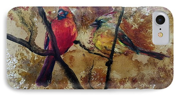 IPhone Case featuring the painting Cardinal Redbird Couple by Christy  Freeman