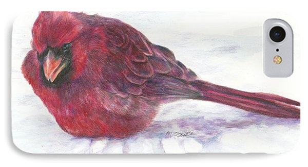 IPhone Case featuring the drawing Cardinal Study by Meagan  Visser