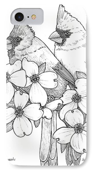 Cardinals And Dogwoods IPhone Case