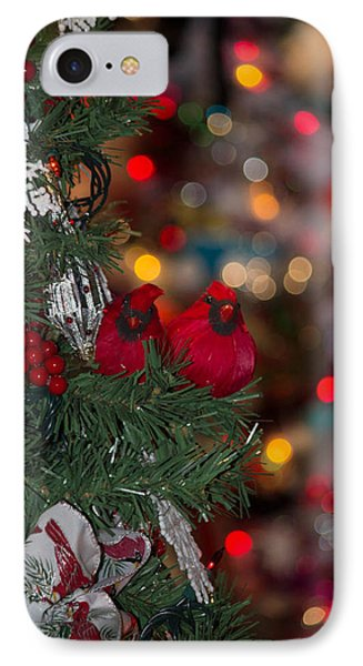IPhone Case featuring the photograph Cardinals At Christmas by Patricia Babbitt