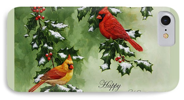 Cardinals Holiday Card - Version With Snow Phone Case by Crista Forest