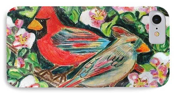 Cardinals In An Apple Tree IPhone Case by Diane Pape