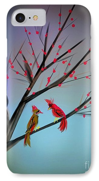 Cardinals In The Flowering Crab IPhone Case by Judy Via-Wolff