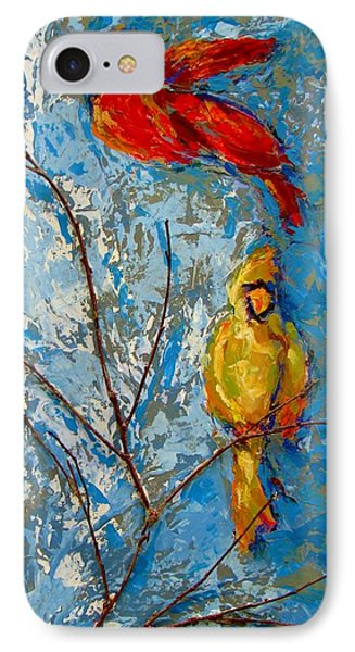 Cardinals On Twig Phone Case by Kat Griffin