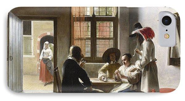 Cardplayers In A Sunlit Room IPhone Case by Pieter de Hooch