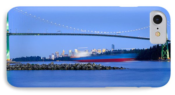 Cargo Ship Leaves Port IPhone Case by Terry Elniski
