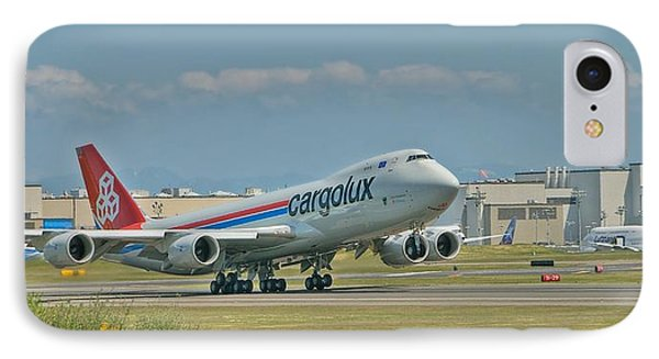 IPhone Case featuring the photograph Cargolux 747-8f by Jeff Cook