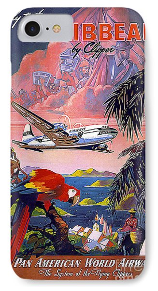 Caribbean Vintage Travel Poster IPhone Case by Jon Neidert