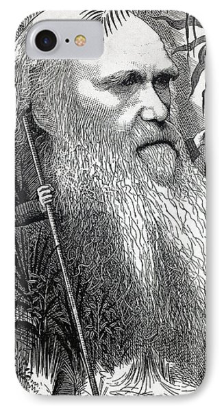 Caricature Of Charles Darwin IPhone Case by Paul D Stewart