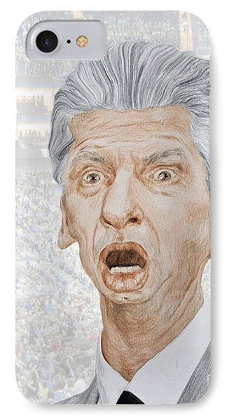 Caricature Of Wwe Owner Vince Mcmahon IPhone Case by Jim Fitzpatrick