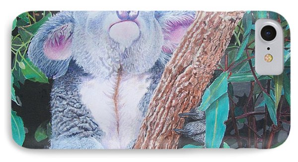 IPhone Case featuring the mixed media Carmen's Koala  by Constance Drescher