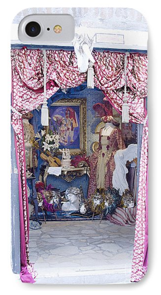 IPhone Case featuring the digital art Carnevale Shop In Venice Italy by Victoria Harrington