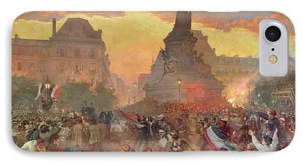Carnival In Paris In Honour Of The Russian Navy, 5th October 1893, 1900 Oil On Canvas IPhone Case by Leon Bakst