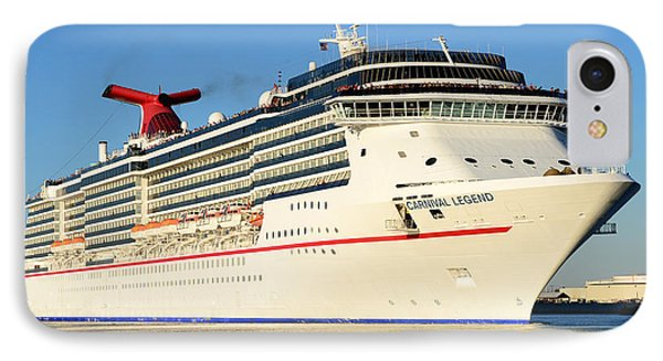 Carnival Legend Leaving Tampa Florida IPhone Case by David Lee Thompson