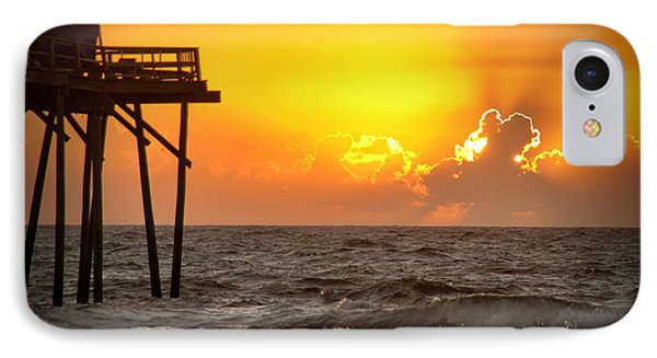 IPhone Case featuring the photograph Carolina Beach Fishing Pier Sunrise by Phil Mancuso