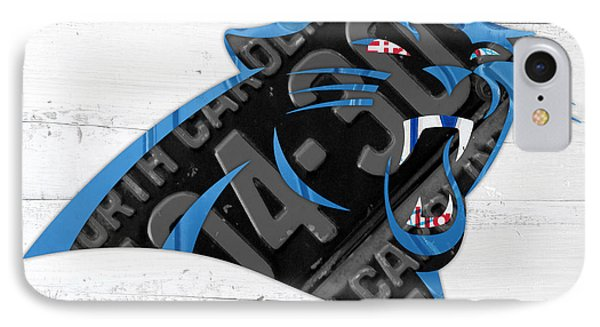 Carolina Panthers Football Team Retro Logo Recycled North Carolina License Plate Art IPhone Case by Design Turnpike