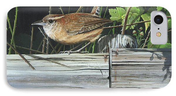 IPhone Case featuring the painting Carolina Wren by Mike Brown