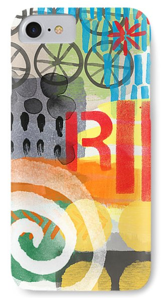 Carousel #6 Ride- Contemporary Abstract Art IPhone Case by Linda Woods
