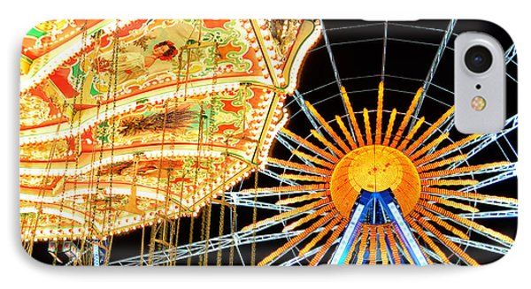 Carousel And Ferries Wheel At Night At The Octoberfest In Munich IPhone Case