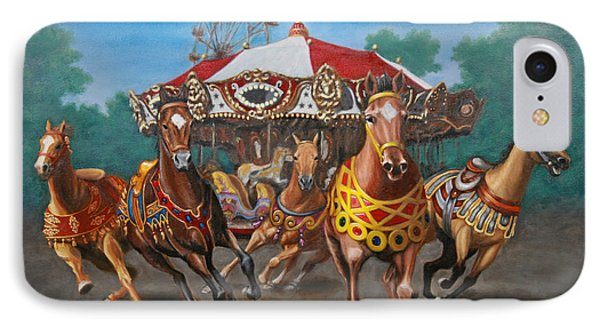 IPhone Case featuring the painting Carousel Escape At The Park by Jason Marsh