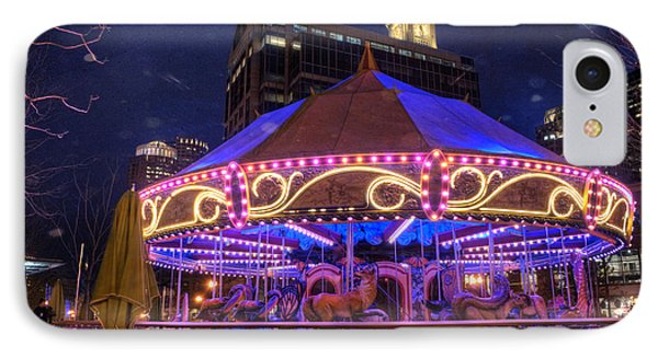 Carousel In Boston IPhone Case by Juli Scalzi