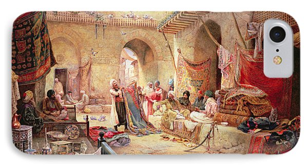 Carpet Bazaar, Cairo, 1887 IPhone Case by Charles Robertson