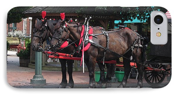 Carriage Horses At City Market Phone Case by Linda Ryan