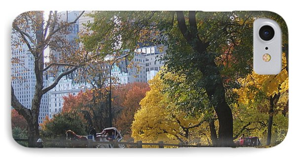 IPhone Case featuring the photograph Carriage Ride Central Park In Autumn by Barbara McDevitt