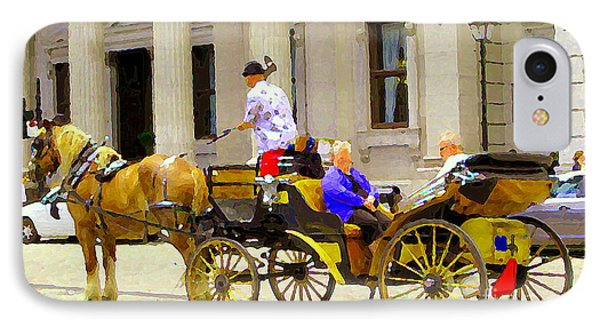 Carriage Ride On Cobblestones Rue Notre Dame Tan Horse Golden Caleche Old Port Quebec Scene Cspandau Phone Case by Carole Spandau