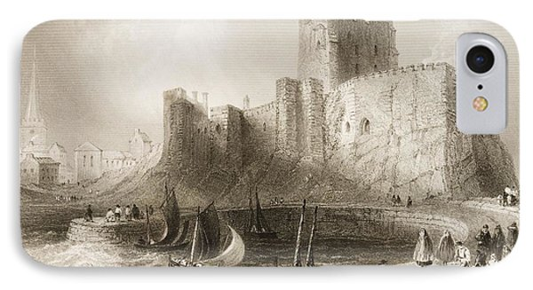 Carrickfergus Castle, County Antrim, Northern Ireland, From Scenery And Antiquities Of Ireland IPhone Case by William Henry Bartlett