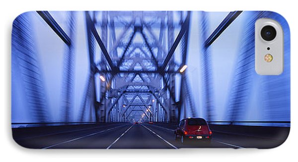 Cars On A Suspension Bridge, Bay IPhone Case by Panoramic Images