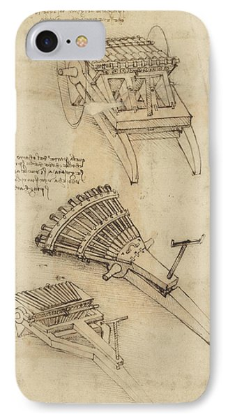 Cart And Weapons From Atlantic Codex Phone Case by Leonardo Da Vinci