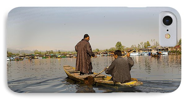Cartoon - Kashmiri Men Plying A Wooden Boat In The Dal Lake In Srinagar IPhone Case by Ashish Agarwal