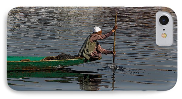 Cartoon - Man Plying A Wooden Boat On The Dal Lake IPhone Case by Ashish Agarwal