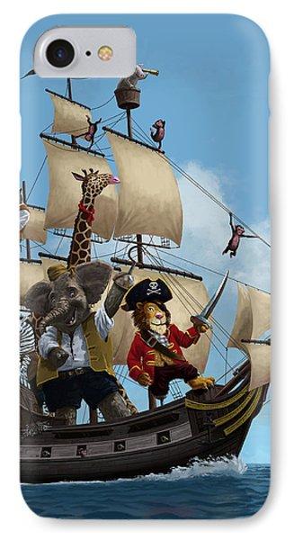 Cartoon Animal Pirate Ship IPhone Case by Martin Davey