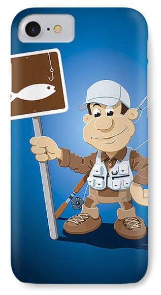 Cartoon Fisherman Fishing Sign IPhone Case by Frank Ramspott