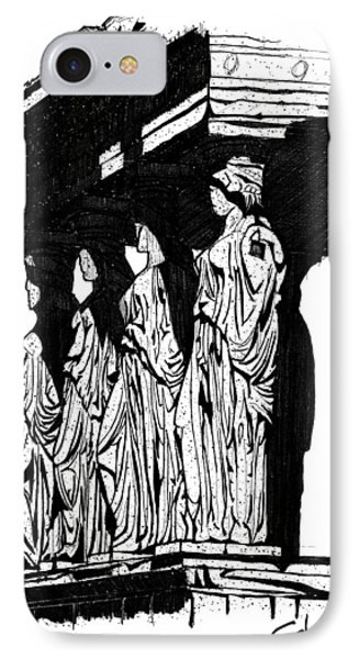 IPhone Case featuring the drawing Caryatids In High Contrast by Calvin Durham